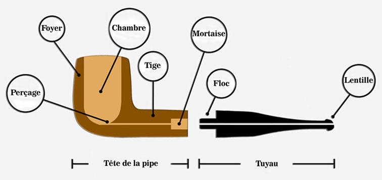 Les différentes parties qui composent une pipe